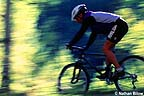 Mountain biker, moving fast