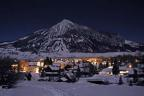 Town of Crested Butte by winter moonlight